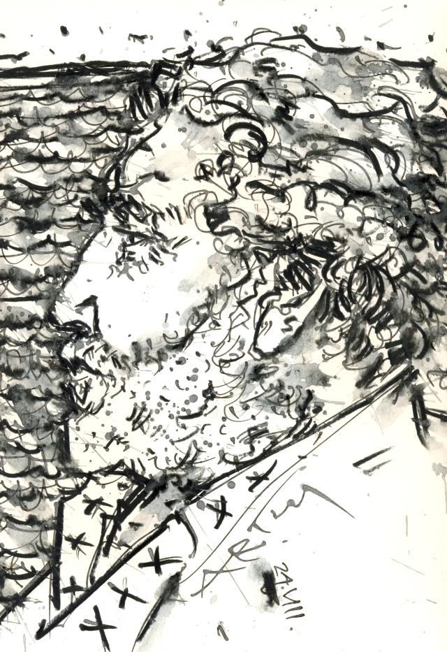 Der in Berlin lebende Dichter Richard Pietraß nahm auch 2011 am Vilmschwimmen teil. Zeichnung: ARTus