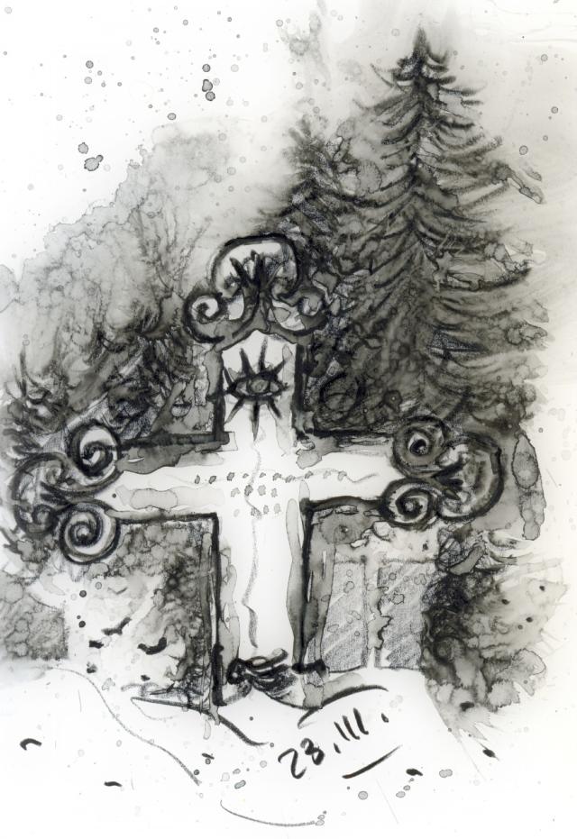 Am 23. März 1849 starb der Bergener Universalgelehrte Johann Jacob Grümbke. Seine Grabstelle befindet sich auf dem Bergener Alten Friedhof. Zeichnung: ARTus