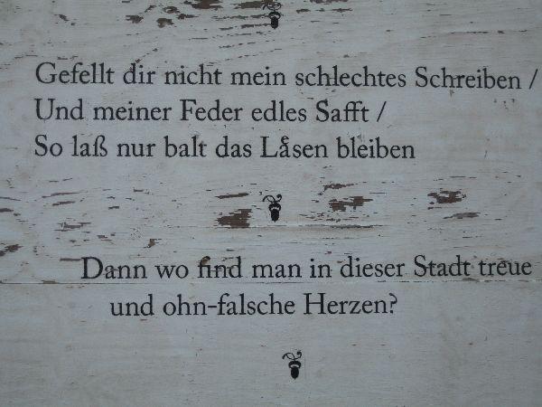 Verse von Sibylla Schwarz an ihrem Geburtshaus