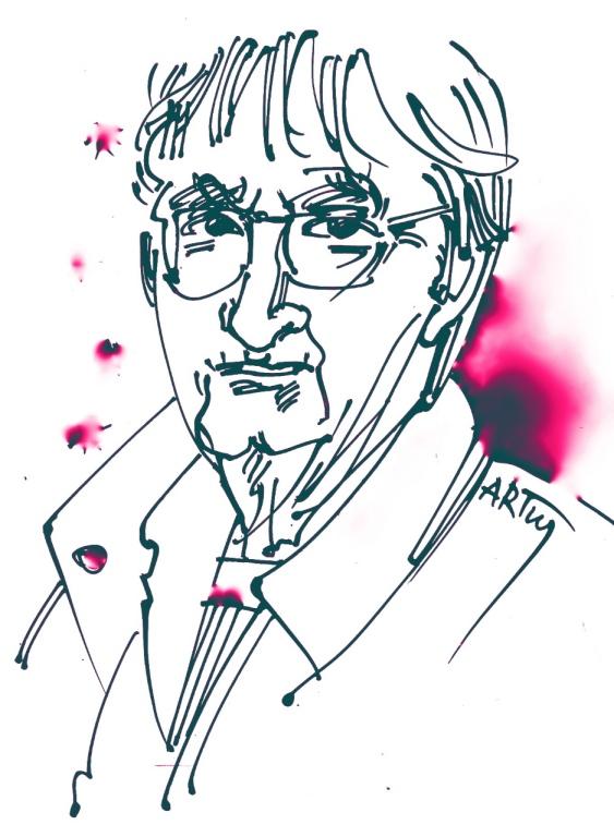 Der Berliner Lothar Fischer(*1932) ist noch bis zum 25. Mai Gastkünstler der Ausstellung »LUSST« in Putbus. Zeichnung: ARTus